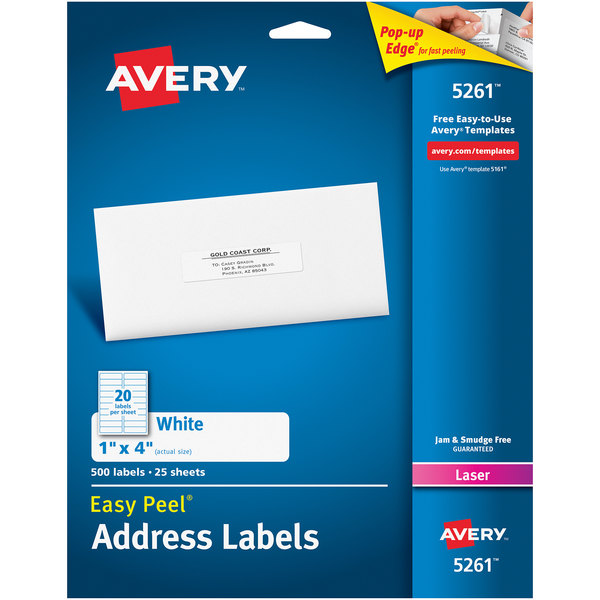 """Avery 5261 Easy Peel 1"""" x 4"""" Printable Mailing Address Labels - 500/Pack Main Image 1"""