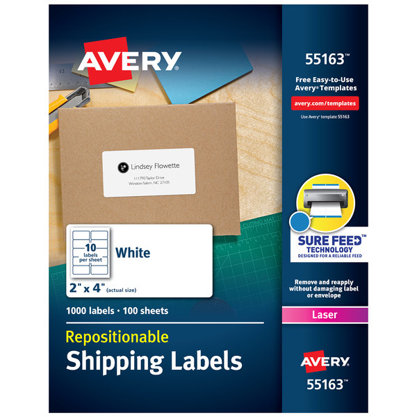 """Avery 55163 2"""" x 4"""" White Repositionable Shipping Labels - 1000/Box"""