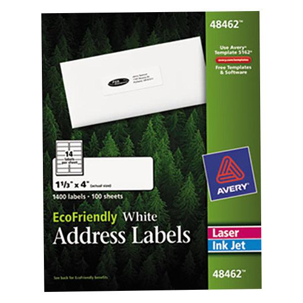 "Avery 48462 EcoFriendly 1 1/3"" x 4"" White Easy Peel Mailing Labels - 1400/Box"