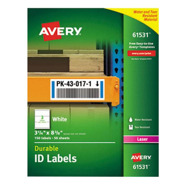 "Avery 61531 TrueBlock 3 1/4"" x 8 3/8"" White ID Labels - 150/Pack"