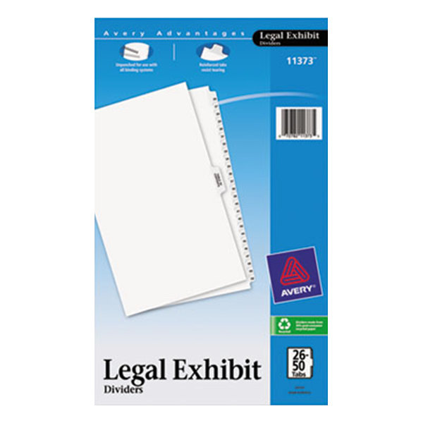 Avery 11373 Premium Collated 26-50 Side Tab Table of Contents Legal Exhibit Dividers