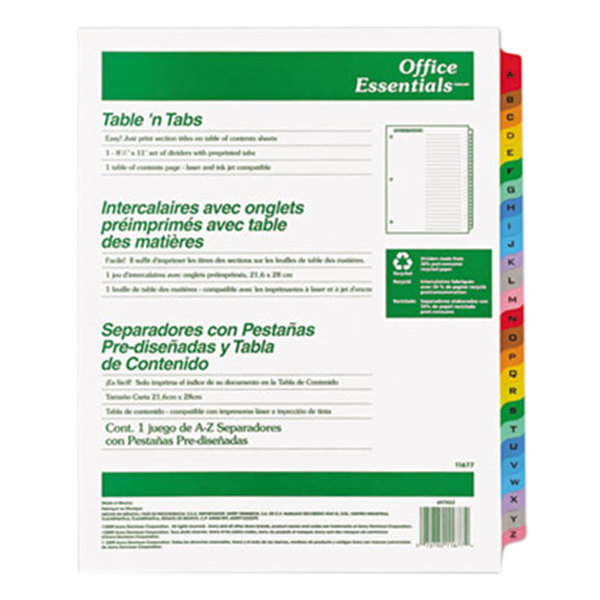 Avery Office Essentials 11677 Table 'n Tabs Multi-Color 26-Tab Dividers Main Image 1