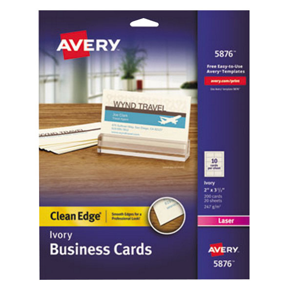 "Avery 5876 2"" x 3 1/2"" Uncoated Ivory Clean Edge Business Cards - 200/Pack Main Image 1"