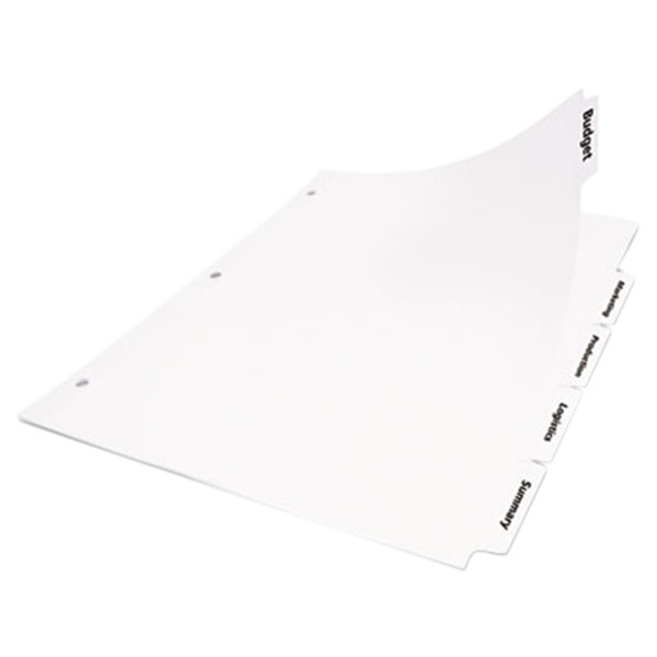Avery Office Essentials 11338 5-Tab White Index Divider Set - 25/Box Main Image 1