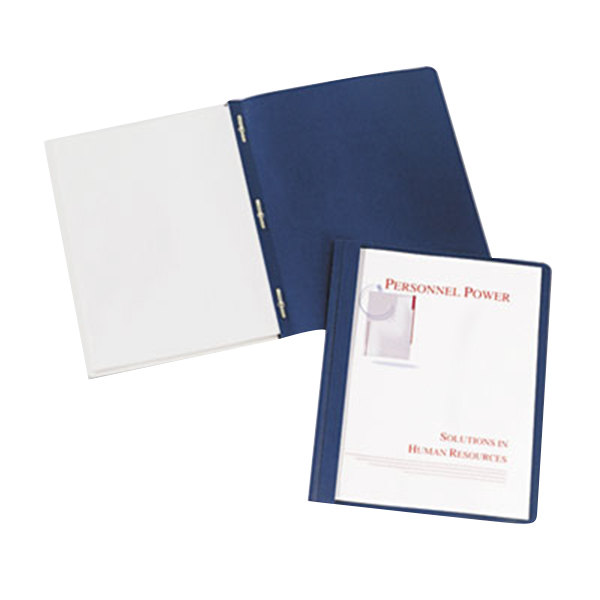 "Avery 47961 11"" x 8 1/2"" Dark Blue Plastic Report Cover with Clear Cover and Prong Fasteners, Letter - 25/Box"