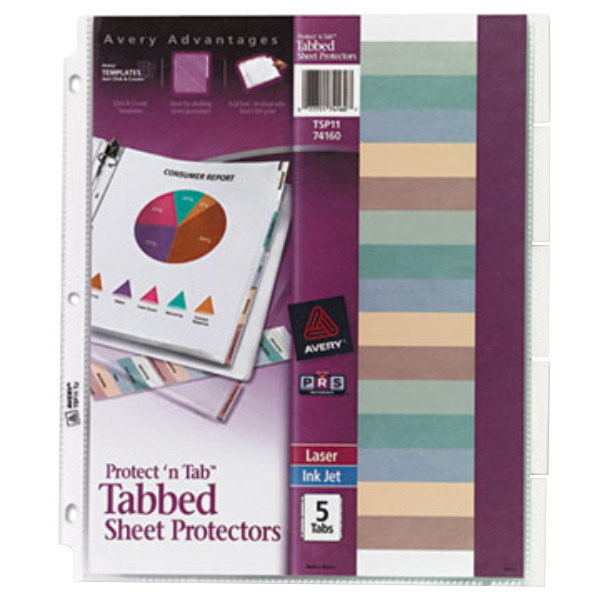 Avery 74160 Protect 'N Tab Clear Heavyweight 5 Tab Top-Load Sheet Protector, Letter - 5/Set