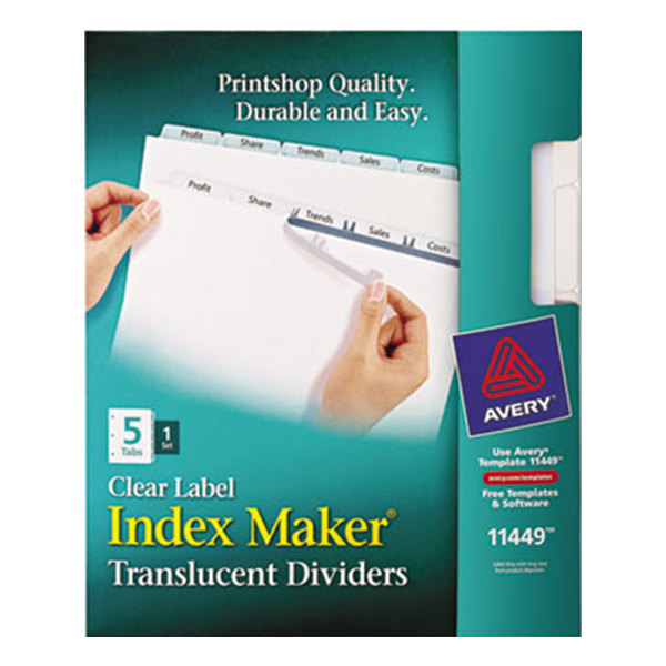 Avery 11449 Index Maker 5-Tab Plastic Dividers with Clear Label Strips