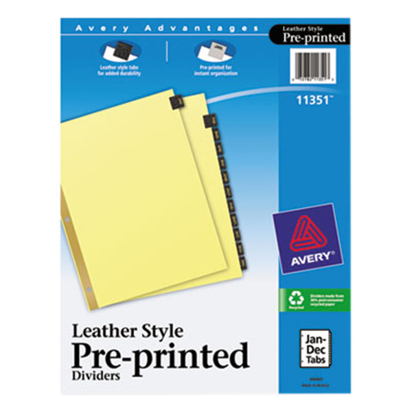 Avery 11351 Pre-Printed Black Leather 12-Tab Dividers Main Image 1
