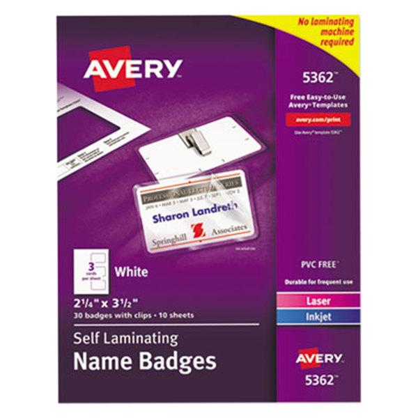 "Avery 5362 2 1/4"" x 3 1/2"" White Self-Laminating Laser / Inkjet Printer Badge - 30/Pack Main Image 1"