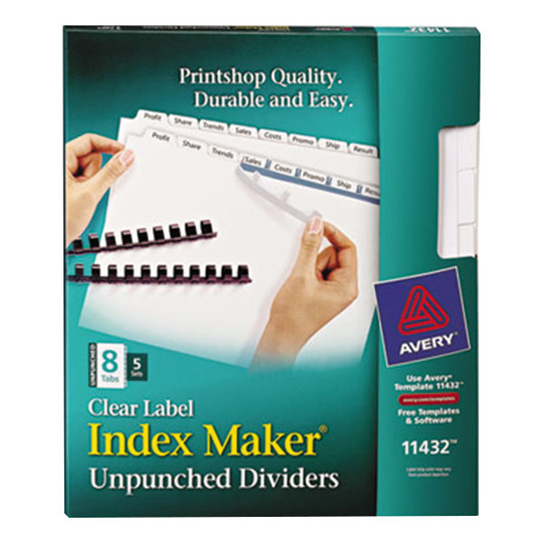Avery 11432 Index Maker 8-Tab Unpunched Divider Set with Clear Label Strips - 5/Pack Main Image 1