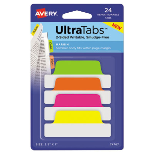 "Avery 74767 Ultra Tabs 2 1/2"" x 1"" Assorted Neon Color Repositionable Tab - 24/Pack"