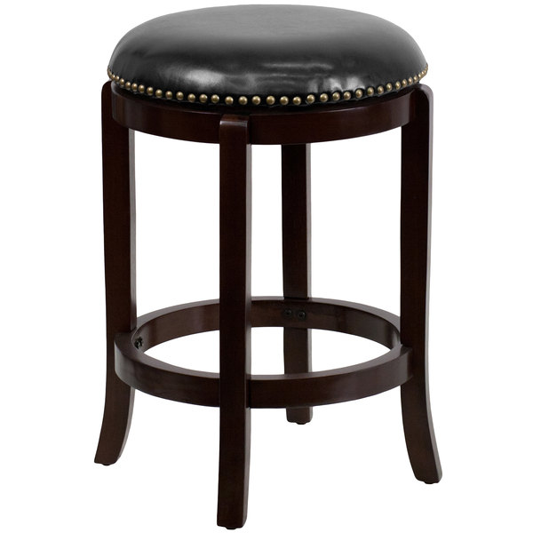 Flash Furniture TA 68924 CA CTR GG Cappuccino Wood Counter Height Stool  With Black Leather Swivel Seat