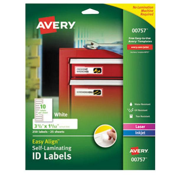 "Avery 757 Easy Align 1 1/32"" x 3 1/2"" White Rectangular Printable Self-Laminating ID Labels - 250/Pack Main Image 1"