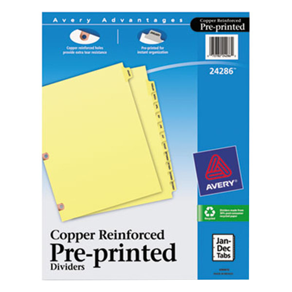 Avery 24286 Pre-Printed 12-Tab Monthly Dividers with Copper Reinforcements