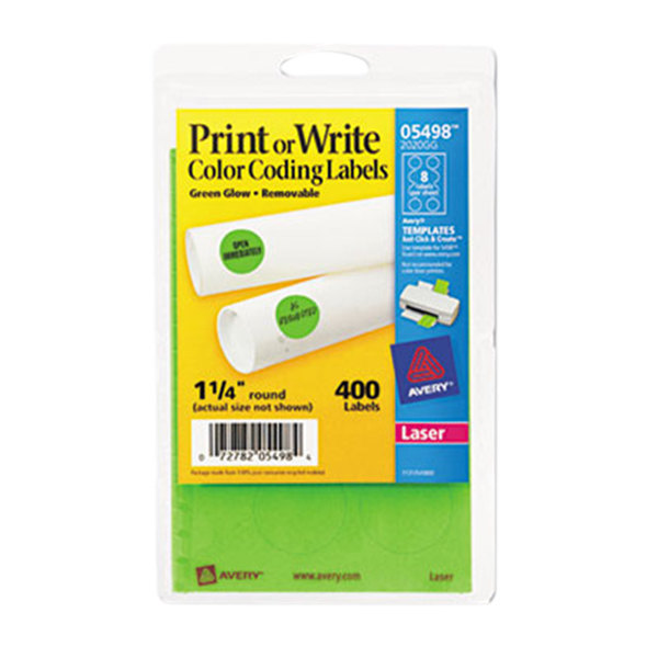 "Avery 5498 1 1/4"" Neon Green Round Removable Write-On / Printable Labels - 400/Pack"