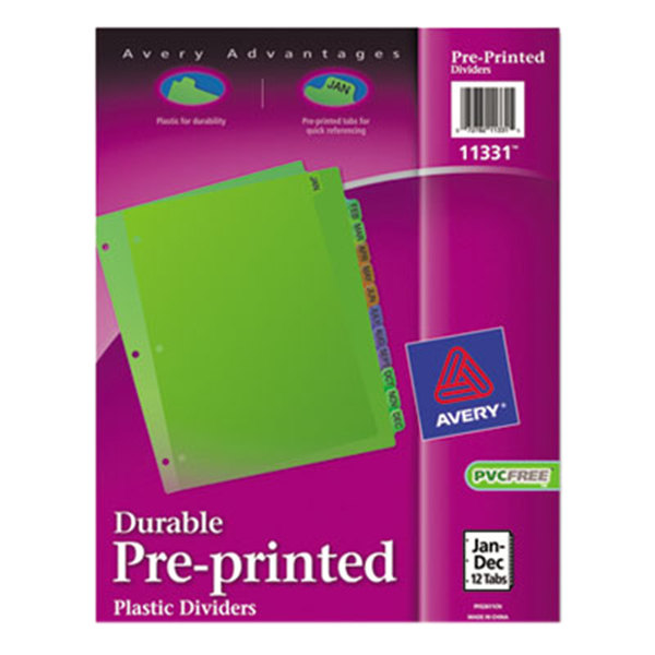 Avery 11331 Pre-Printed 12-Tab Multi-Color Jan-Dec Plastic Dividers Main Image 1