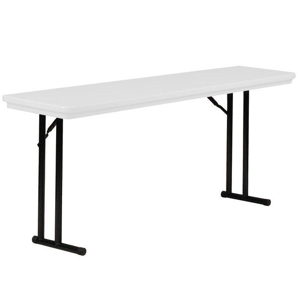 """Correll R1872 23 18"""" x 72"""" Gray Granite Plastic Seminar Table"""
