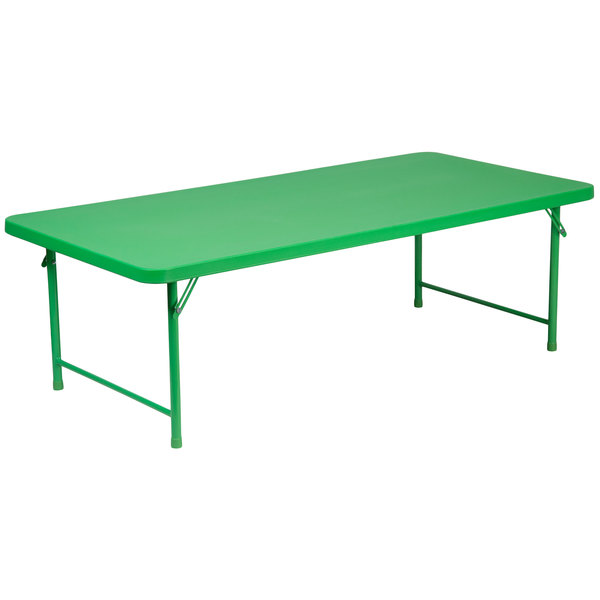 "Flash Furniture RB-3060-KID-GN-GG 30"" x 60"" Kids Green Plastic Folding Table Main Image 1"