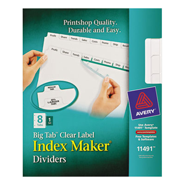 Avery 11491 Big Tab Index Maker 8-Tab Divider Set with Clear Label Strip Main Image 1