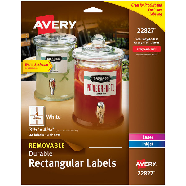 """Avery 22827 3 1/2"""" x 4 3/4"""" White Rectangular Removable Labels - 32/Pack Main Image 1"""