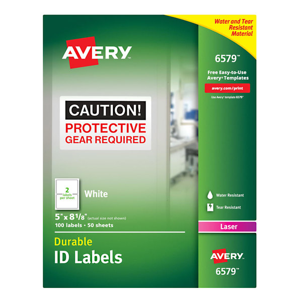 """Avery 6579 5"""" x 8 1/8"""" White Permanent ID Labels - 100/Pack Main Image 1"""