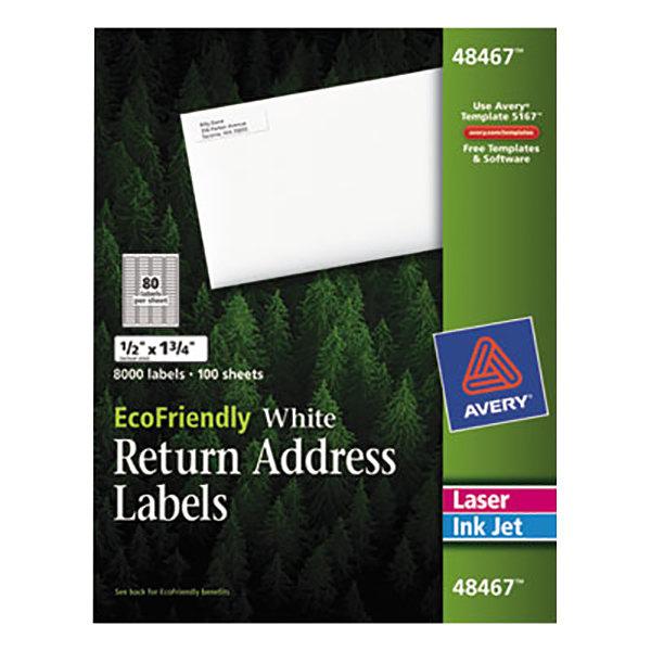 "Avery 48467 EcoFriendly 1/2"" X 1 3/4"" White Easy Peel Return Address Labels - 8000/Box"