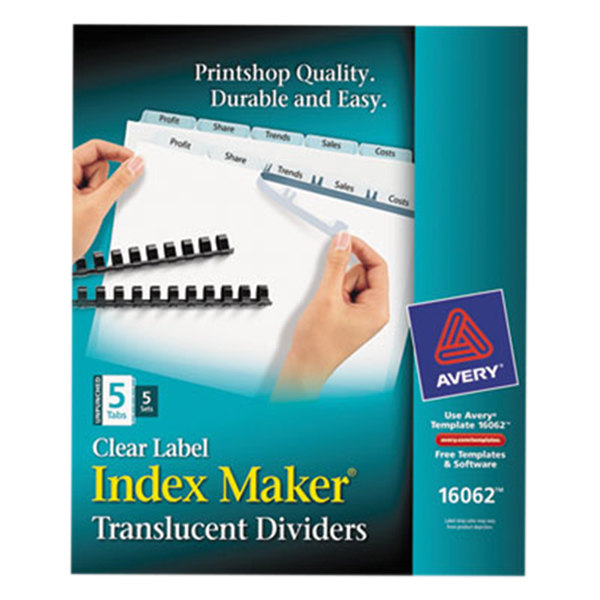 Avery 16062 Index Maker 5-Tab Unpunched Plastic Clear Label Dividers Set - 5/Pack