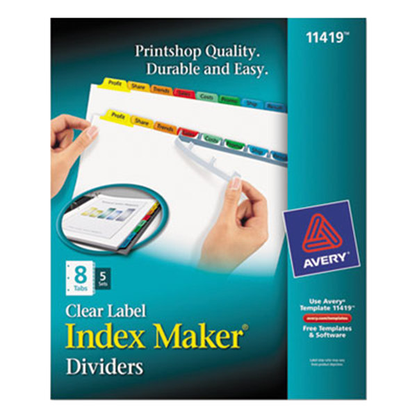 Avery 11419 Index Maker 8-Tab Multi-Color Divider Set with Clear Label Strip - 5/Pack