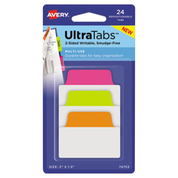 """Avery 74753 Ultra Tabs 2"""" x 1 1/2"""" Assorted Neon Color Repositionable Tab - 24/Pack"""