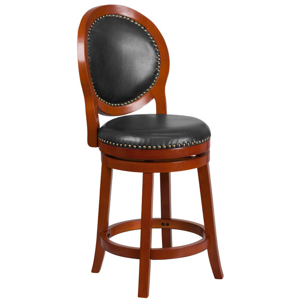 Flash Furniture TA-550126-LC-GG Light Cherry Wood Counter Height Oval Back Stool with Walnut Leather Swivel Seat Main Image 1