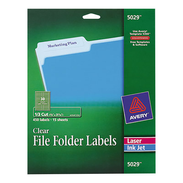 """Avery 5029 2/3"""" x 3 7/16"""" Clear Top Tab 1/3 Cut File Folder Labels - 450/Pack"""