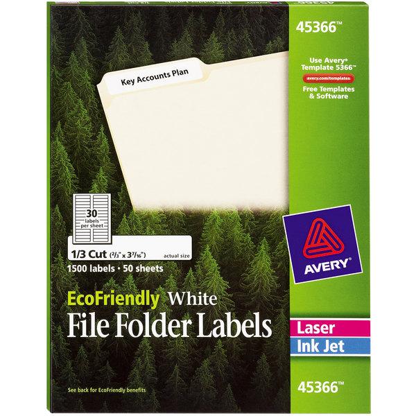 "Avery 45366 EcoFriendly 2/3"" x 3 7/16"" White 1/3 Cut Top Tab File Folder Labels - 1500/Box Main Image 1"