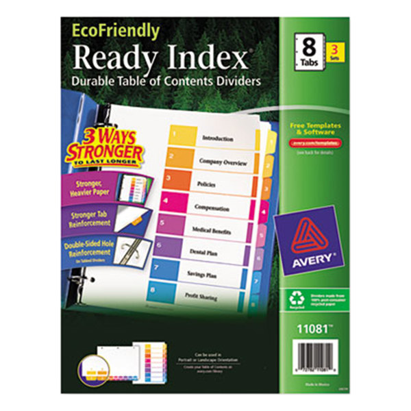 Avery 11081 EcoFriendly Ready Index 8-Tab Multi-Color Table of Contents Divider Set - 3/Pack Main Image 1