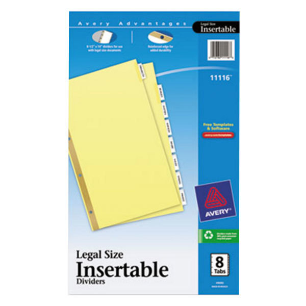 Avery 11116 Legal Size Buff Paper 8-Tab Clear Insertable Dividers Main Image 1