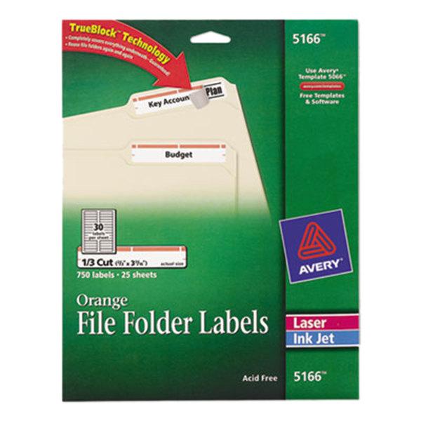 "Avery 5166 TrueBlock 2/3"" x 3 7/16"" Orange File Folder Labels - 750/Pack Main Image 1"