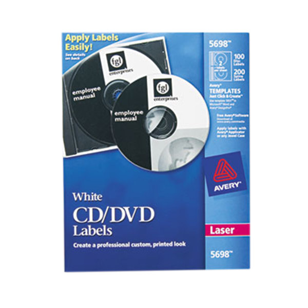 Avery 5698 Matte White CD / DVD Labels - 100/Pack Main Image 1