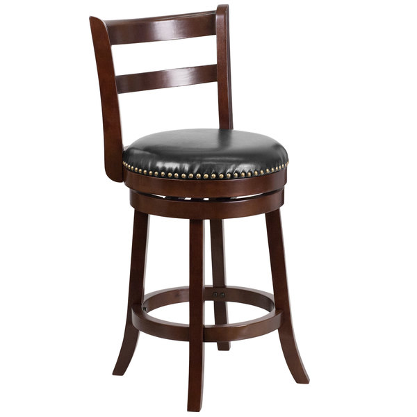 Flash Furniture TA-16026-CA-GG Cappuccino Wood Counter Height Ladder Back Stool with Black Leather Swivel Seat