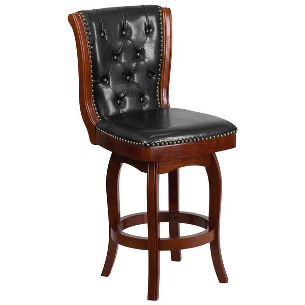 Flash Furniture TA-240126-CA-GG Cappuccino Wood Counter Height Button Tufted Back Stool with Black Leather Swivel Seat