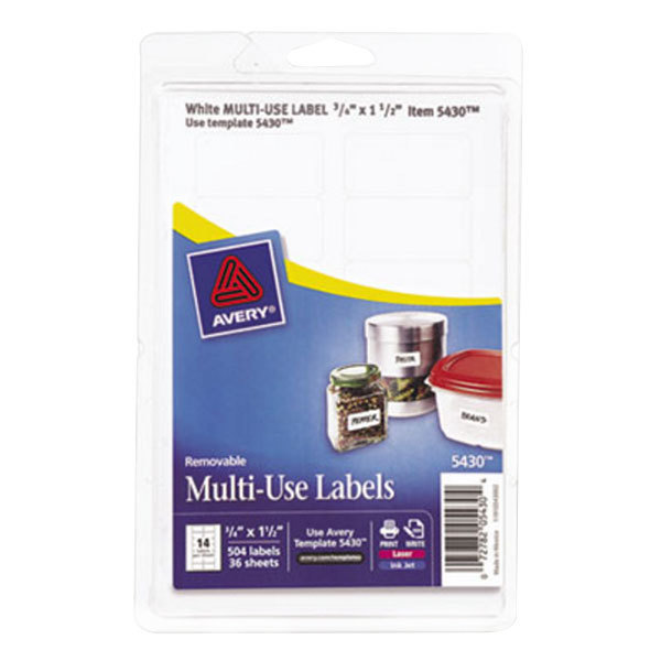 """Avery 5430 3/4"""" x 1 1/2"""" White Rectangular Removable Write-On / Printable Labels - 504/Pack"""