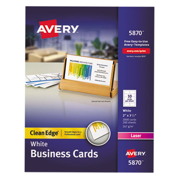 "Avery 5870 2"" x 3 1/2"" Uncoated White Clean Edge Business Cards - 2000/Pack"