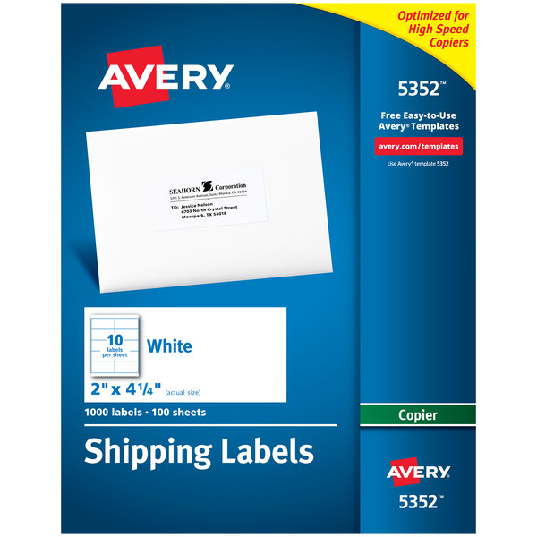 "Avery 5352 2"" x 4 1/4"" White Copier Shipping Labels - 1000/Box Main Image 1"