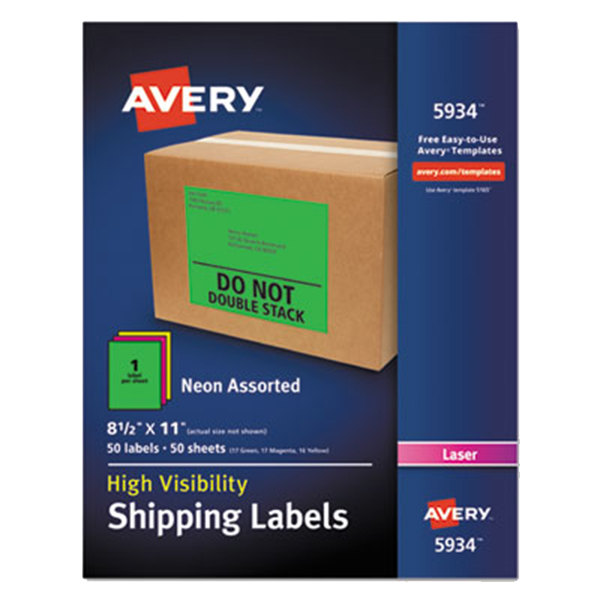 "Avery 5934 8 1/2"" x 11"" Assorted Neon Shipping Labels - 50/Box"
