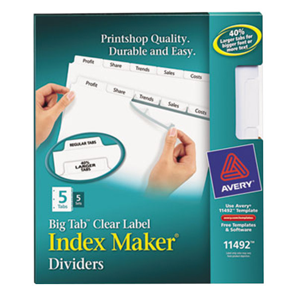 Avery 11492 Big Tab Index Maker 5-Tab Divider Set with Clear Label Strip - 5/Pack Main Image 1