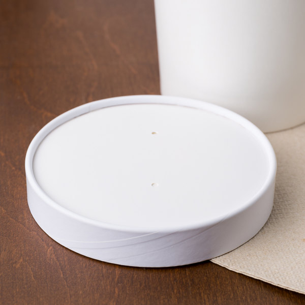 Choice 6-16 oz. White Paper Soup / Hot Food Cup Vented Lid - 50/Pack