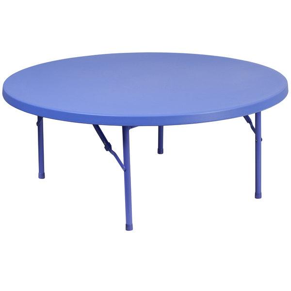 "Flash Furniture RB-48R-KID-BL-GG 48"" Round Kids Blue Plastic Folding Table Main Image 1"