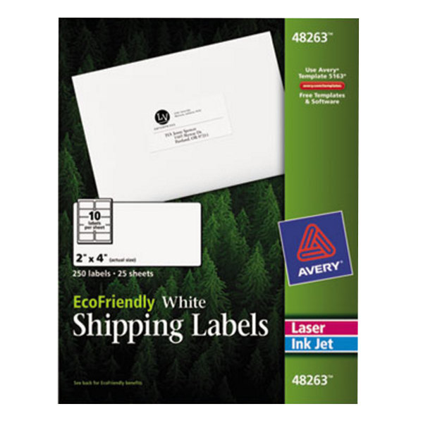 "Avery 48263 EcoFriendly 2"" x 4"" White Easy Peel Shipping Labels - 250/Pack"