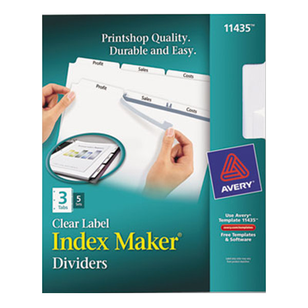 Avery 11435 Index Maker 3-Tab White Divider Set with Clear Label Strip - 5/Pack Main Image 1