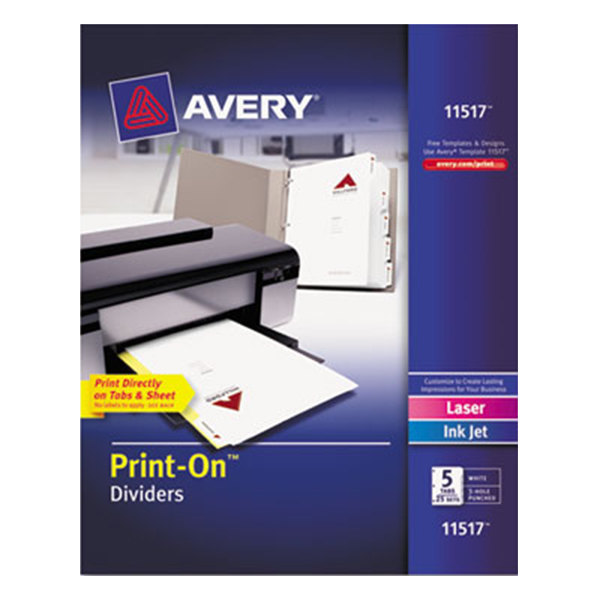 Avery 11517 Print-On 5-Tab White Divider Set - 25/Pack Main Image 1