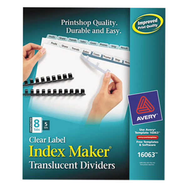 Avery 16063 Index Maker 8-Tab Unpunched Plastic Clear Label Dividers Set - 5/Pack Main Image 1