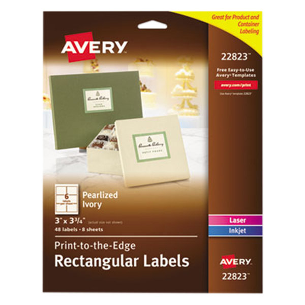 "Avery 22823 3"" x 3 3/4"" Pearlized Ivory Rectangular Print-to-the-Edge Labels - 48/Pack"